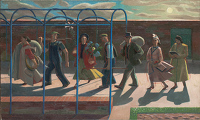 Artist Evelyn Dunbar: Seven Days, inscribed on stretcher �Design for mural�